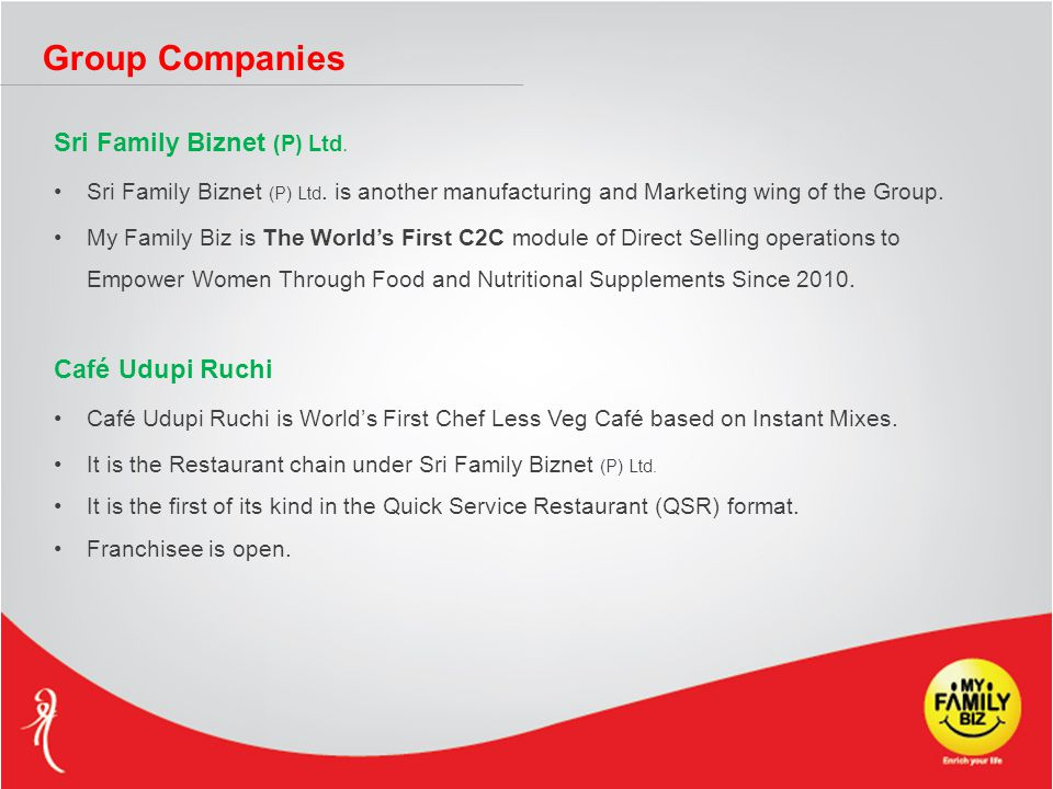Group Companies Sri Family Biznet (P) Ltd. Sri Family Biznet (P) Ltd.