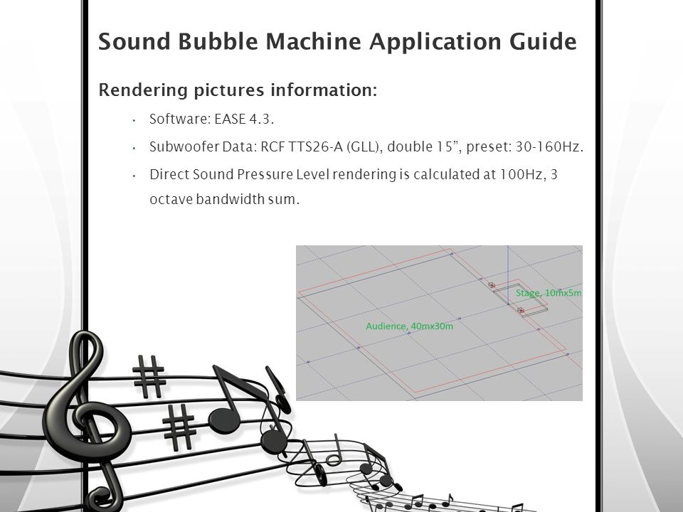 "Sound Bubble Machine Application Guide Rendering pictures information: Software: EASE 4.3. Subwoofer Data: RCF TTS26-A (GLL), double 15"", preset: 30-1"
