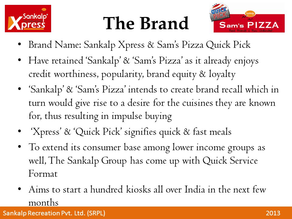 The Brand Brand Name: Sankalp Xpress & Sam's Pizza Quick Pick Have retained 'Sankalp' & 'Sam's Pizza' as it already enjoys credit worthiness, populari