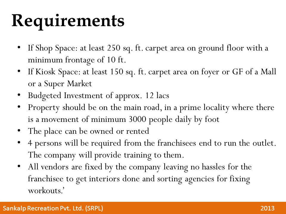 Requirements If Shop Space: at least 250 sq. ft.