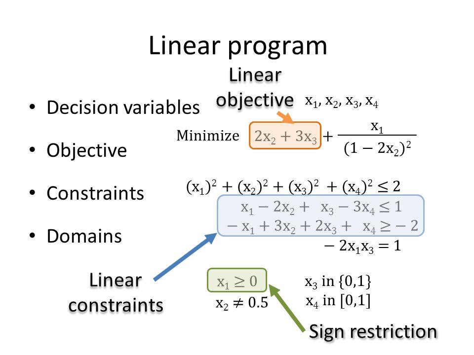 Formulating an optimization problem Linear program Decision variables Objective Constraints Domains x 1, x 2, x 3, x 4 2x 2 + 3x 3 x 1 − 2x 2 + x 3 − 3x 4 ≤ 1 − x 1 + 3x 2 + 2x 3 + x 4 ≥ − 2 x 1 ≥ 0 x 3 in {0,1} x 4 in [0,1] Linear constraints Linear constraints Sign restriction + x 1 (1 − 2x 2 ) 2 (x 1 ) 2 + (x 2 ) 2 + (x 3 ) 2 + (x 4 ) 2 ≤ 2 − 2x 1 x 3 = 1 Linear objective Linear objective x 2 ≠ 0.5 Minimize