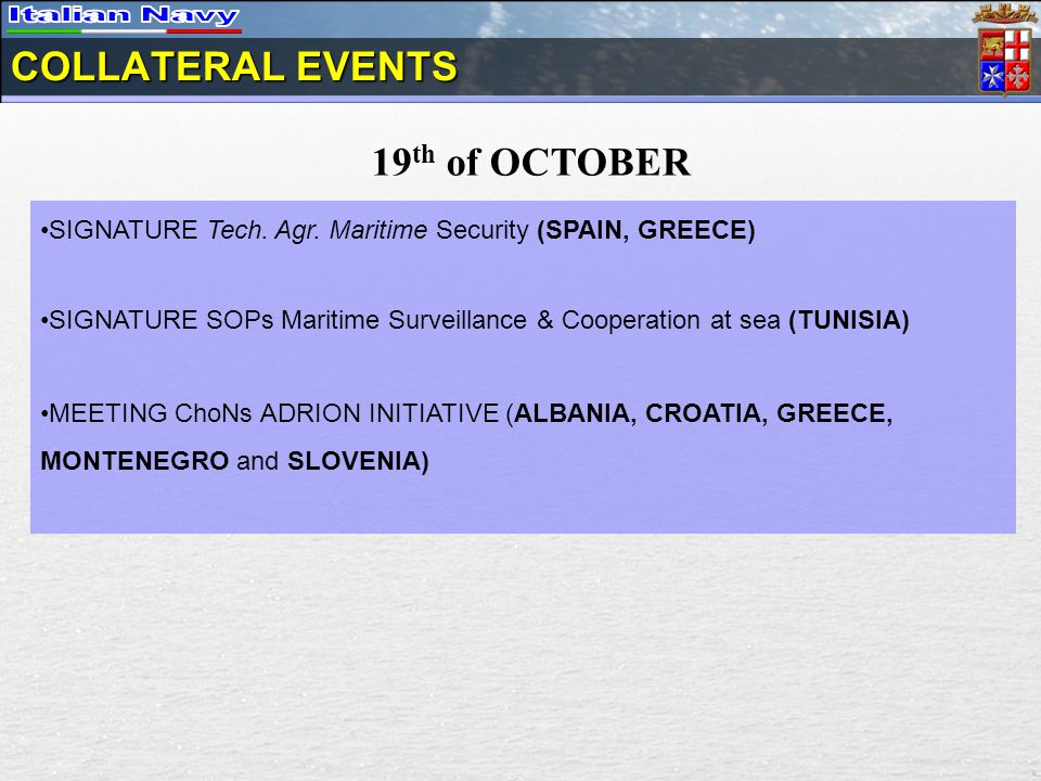 COLLATERAL EVENTS 19 th of OCTOBER SIGNATURE Tech.