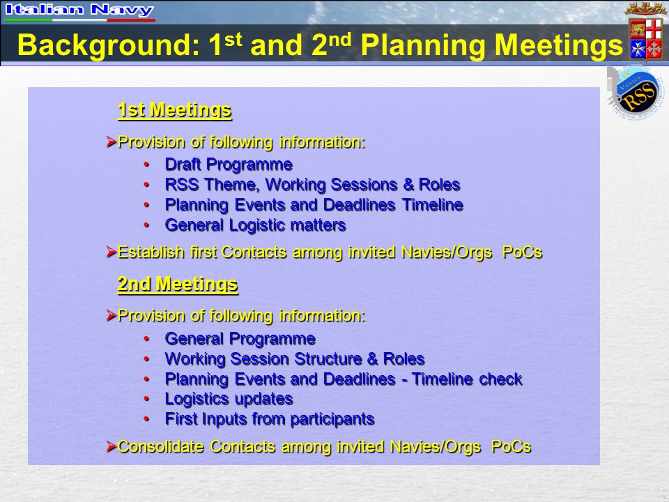 3 rd Planning Meeting Aims  Provide following INFORMATION/DETAILS on the event: Depict WORKING SESSION STRUCTURE & ROLESDepict WORKING SESSION STRUCTURE & ROLES Collect last INPUTS from participantsCollect last INPUTS from participants Events and Deadlines – TIMELINE CHECKEvents and Deadlines – TIMELINE CHECK Provide final LOGISTICS updatesProvide final LOGISTICS updates Define the general PROGRAMMEDefine the general PROGRAMME  CONSOLIDATE CONTACTS among invited Navies/Orgs PoCs
