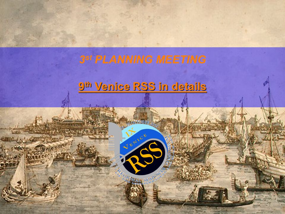 VENICE RSS 2012 - DOCUMENTS ORGANIZATION QUESTIONNAIRE ABSTRACT/PAPER (speech not exceeding 10 min) POWERPOINT PRESENTATION – if needed CURRICULUM VITAE with picture (electronic) Notes:  Abstract and papers needed also for proceedings preparation;  Curricula Vitarum also requested for delivering a presentation paper before the beginning of the Venice Regional Seapower Symposium;  Logistic questionnaires should be sent ASAP.