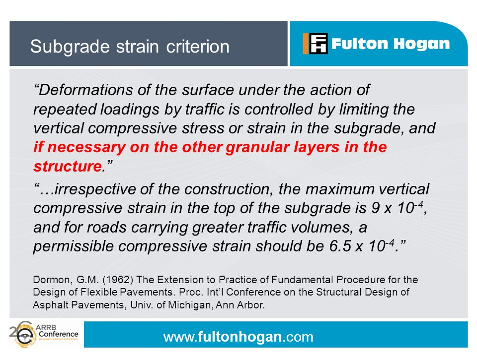 "www.fultonhogan.com ""Deformations of the surface under the action of repeated loadings by traffic is controlled by limiting the vertical compressive s"