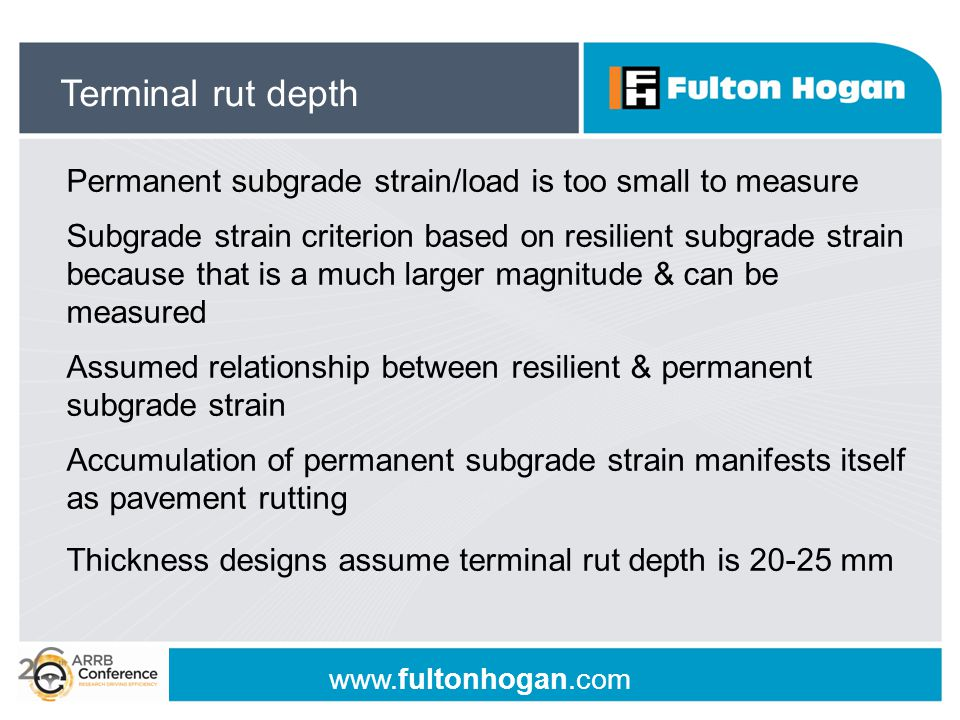www.fultonhogan.com Permanent subgrade strain/load is too small to measure Subgrade strain criterion based on resilient subgrade strain because that i