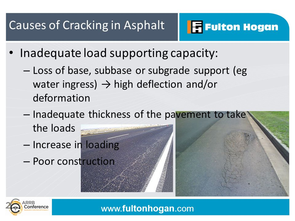 www.fultonhogan.com Inadequate load supporting capacity: – Loss of base, subbase or subgrade support (eg water ingress) → high deflection and/or defor