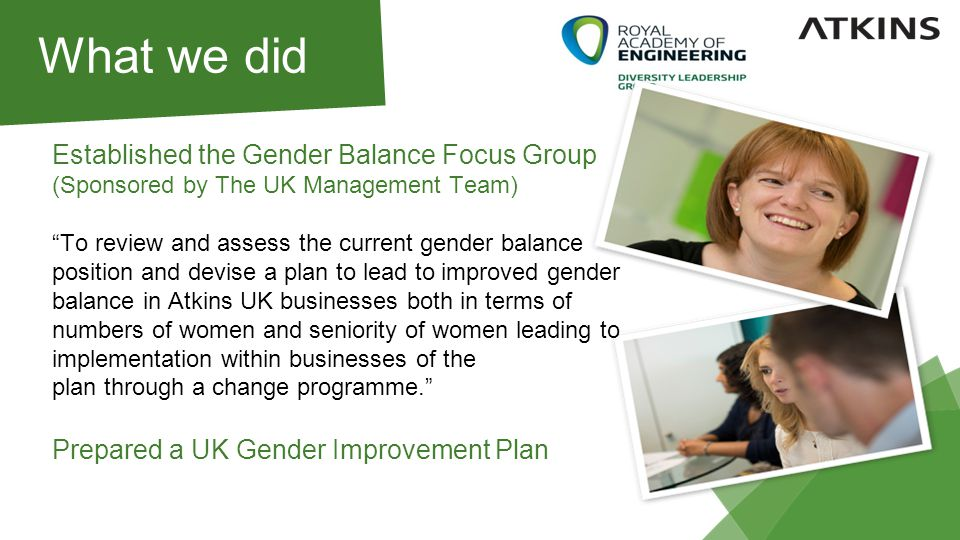What we did Established the Gender Balance Focus Group (Sponsored by The UK Management Team) To review and assess the current gender balance position and devise a plan to lead to improved gender balance in Atkins UK businesses both in terms of numbers of women and seniority of women leading to implementation within businesses of the plan through a change programme. Prepared a UK Gender Improvement Plan