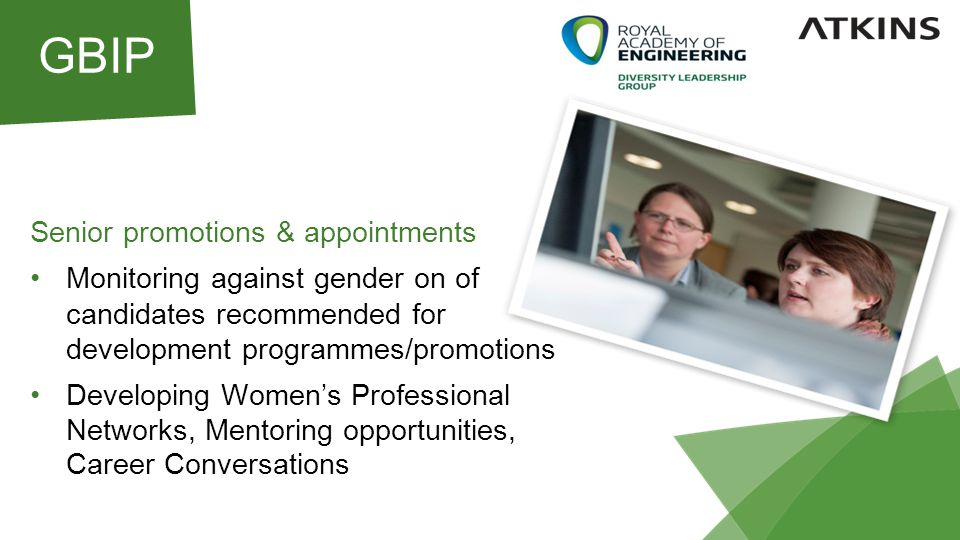 Senior promotions & appointments Monitoring against gender on of candidates recommended for development programmes/promotions Developing Women's Professional Networks, Mentoring opportunities, Career Conversations GBIP