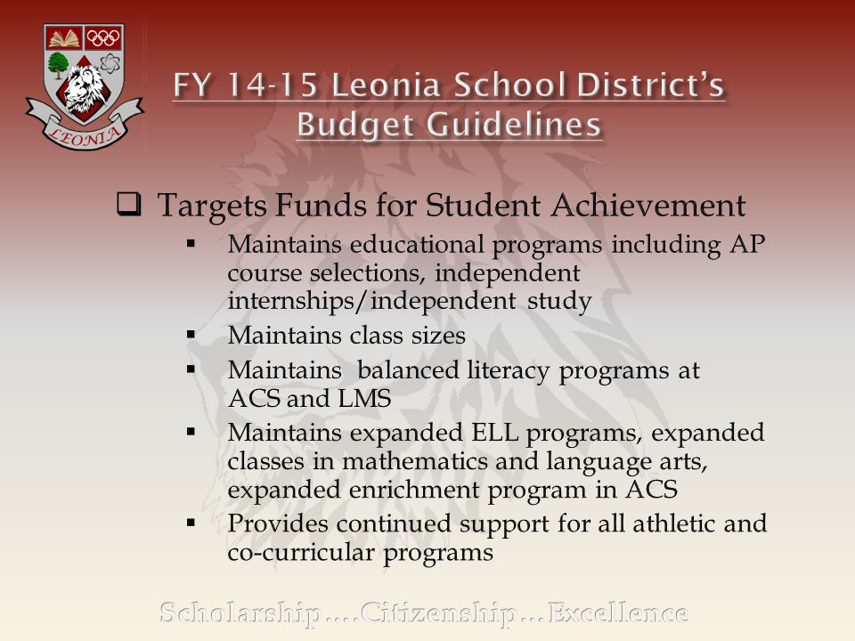 FY 2013-2014FY 2014-2015 Inc/(Dec) Current ExpenseTax Point $133,398Tax Point $122,269 Local Tax Levy$17,392,417$17,740,265 School Tax/$100 of Assessed Home Value $1.30$1.45 Avg.