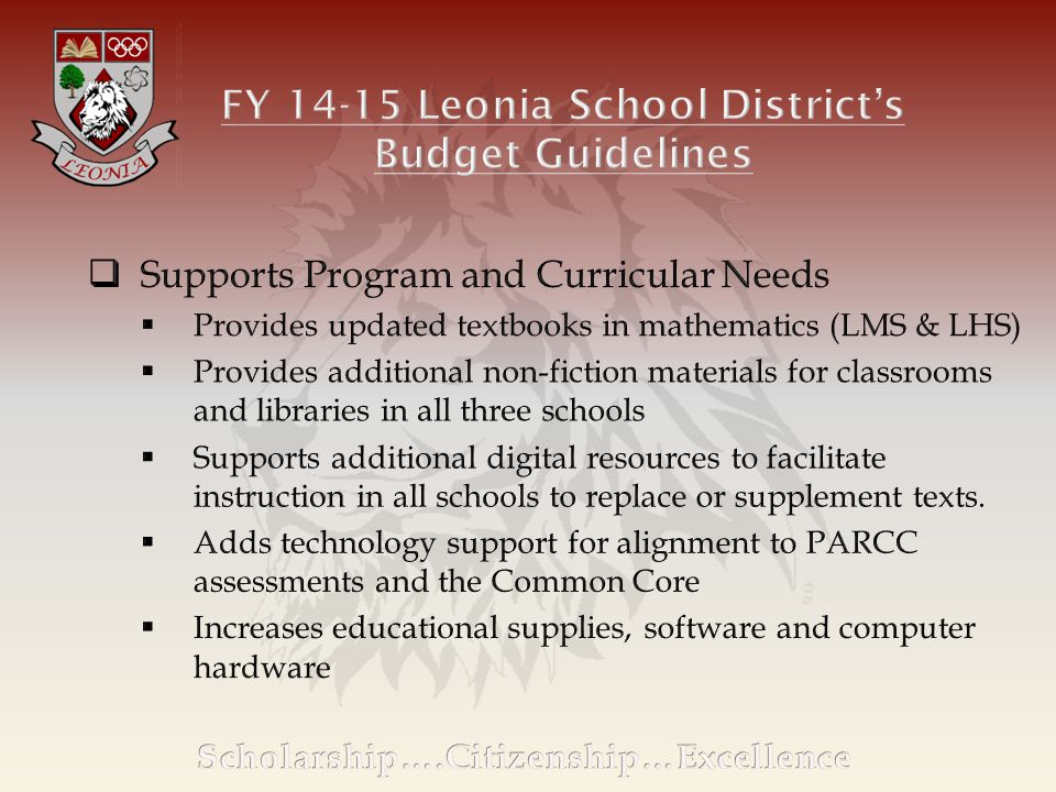 CY 2013-2014CY 2014-2015Inc/(Dec) Current ExpenseTax Point $133,398Tax Point $122,269 Local Tax Levy$17,221,903$17,566,341 School Tax/$100 of Assessed Home Value $1.29$1.44 Avg.