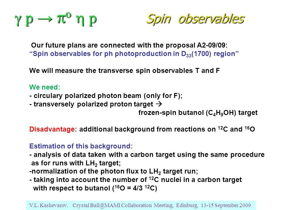 V.L. Kashevarov. Crystal Ball@MAMI Collaboration Meeting, Edinburg, 13-15 September 2009  p →  o  p Spin observables Our future plans are connec
