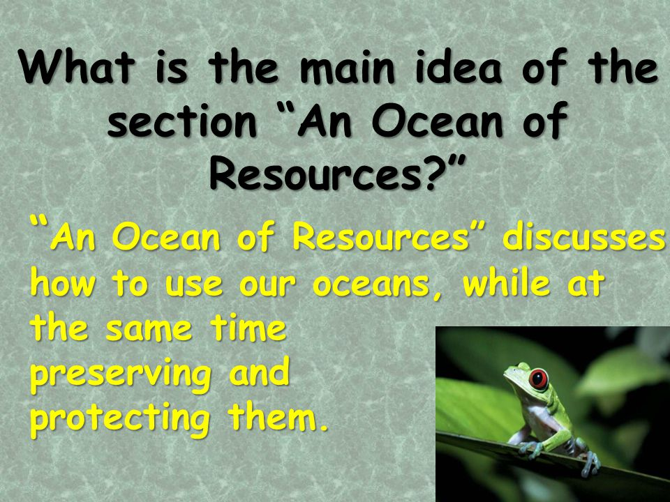 """What is the main idea of the section """"An Ocean of Resources?"""" """" An Ocean of Resources"""" discusses how to use our oceans, while at the same time preserv"""