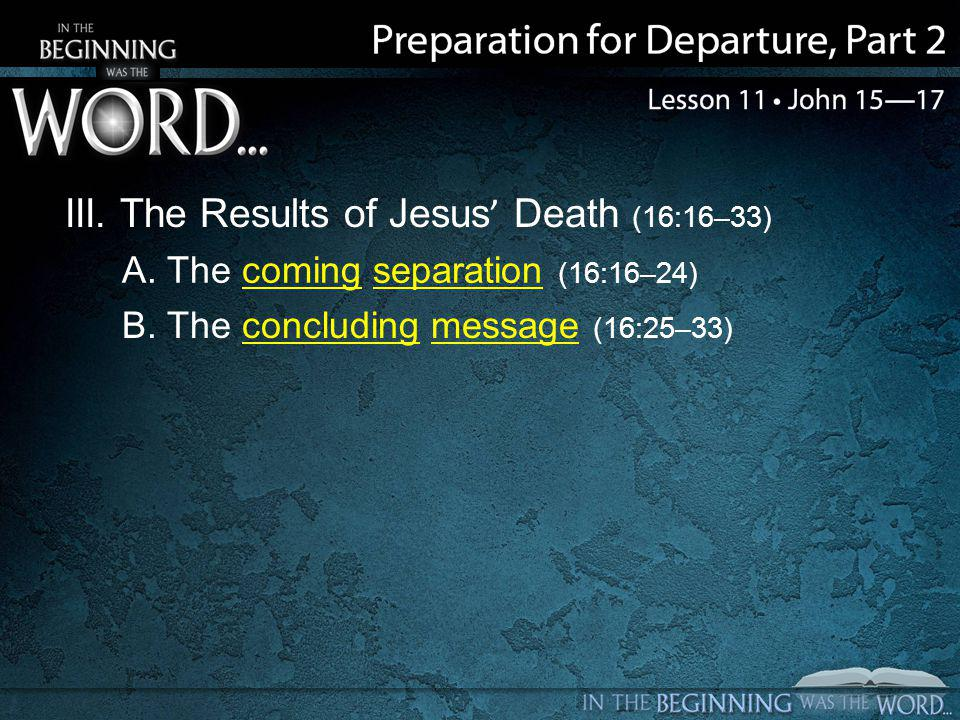 III. The Results of Jesus' Death (16:16–33) A. The coming separation (16:16–24) B.