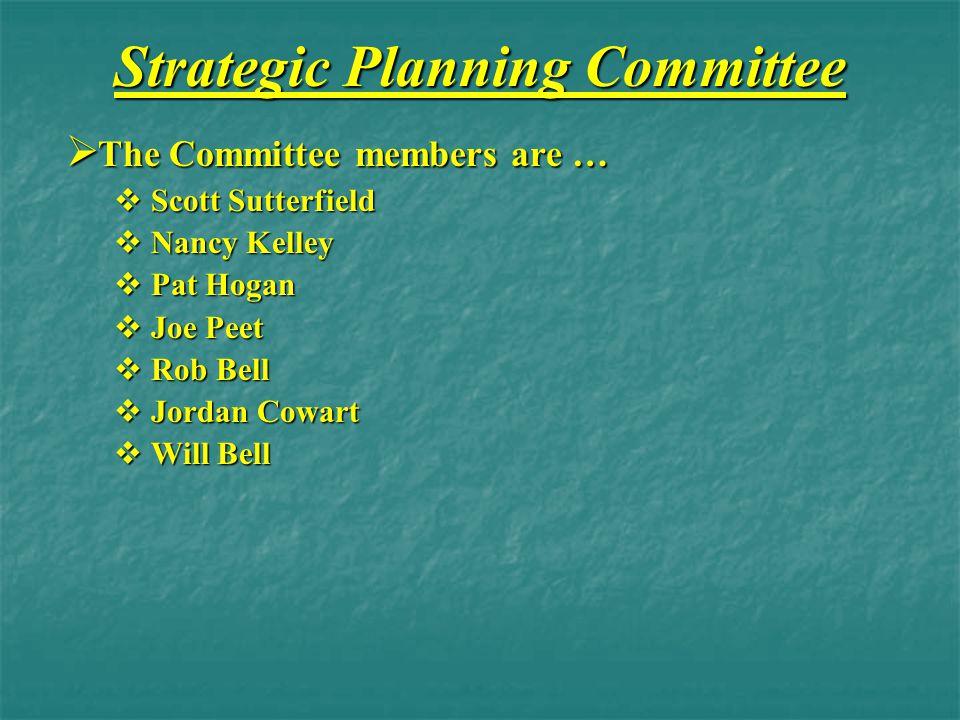 Strategic Planning Committee  The Committee members are …  Scott Sutterfield  Nancy Kelley  Pat Hogan  Joe Peet  Rob Bell  Jordan Cowart  Will Bell