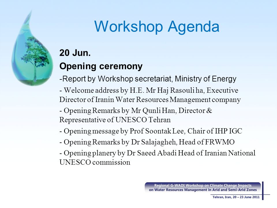 Workshop Agenda 20 Jun.