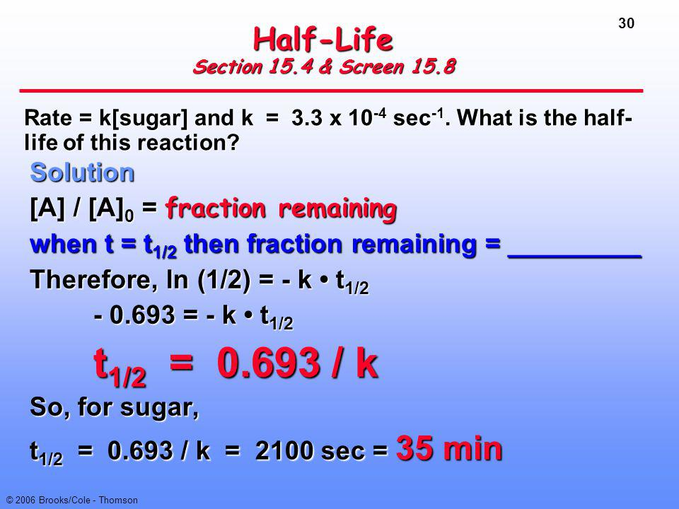 30 © 2006 Brooks/Cole - Thomson Half-Life Section 15.4 & Screen 15.8 Solution [A] / [A] 0 = fraction remaining when t = t 1/2 then fraction remaining
