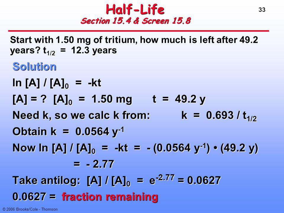 33 © 2006 Brooks/Cole - Thomson Half-Life Section 15.4 & Screen 15.8 Solution ln [A] / [A] 0 = -kt [A] = ?[A] 0 = 1.50 mgt = 49.2 y Need k, so we calc