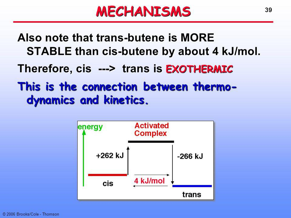 39 © 2006 Brooks/Cole - Thomson Also note that trans-butene is MORE STABLE than cis-butene by about 4 kJ/mol. Therefore, cis ---> trans is EXOTHERMIC