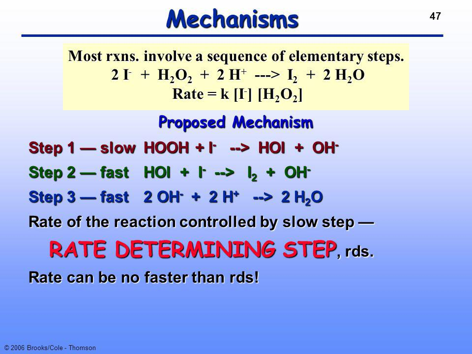 47 © 2006 Brooks/Cole - Thomson Mechanisms Proposed Mechanism Step 1 — slowHOOH + I - --> HOI + OH - Step 2 — fastHOI + I - --> I 2 + OH - Step 3 — fa