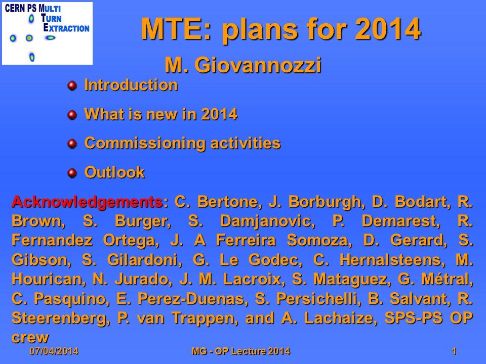 MTE: plans for 2014 M.