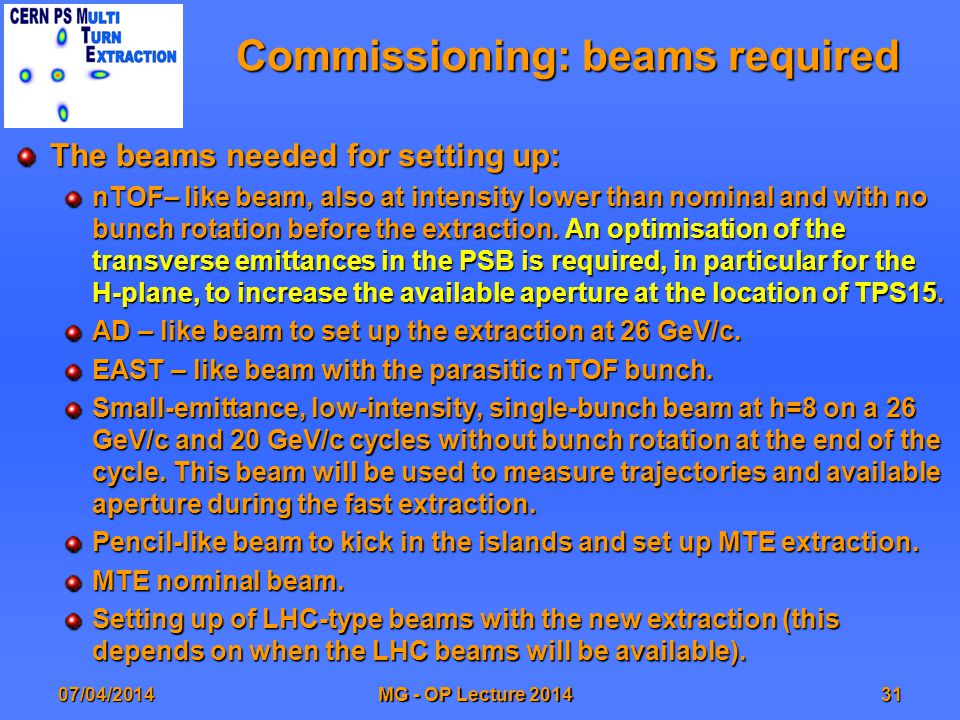 Commissioning: beams required The beams needed for setting up: nTOF– like beam, also at intensity lower than nominal and with no bunch rotation before the extraction.