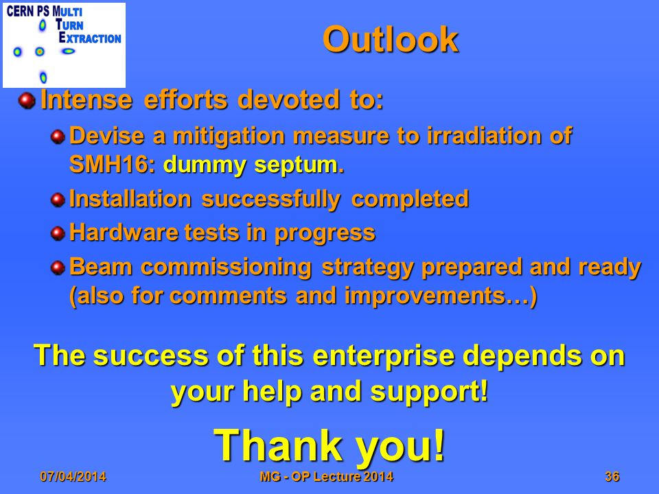 Outlook Intense efforts devoted to: Devise a mitigation measure to irradiation of SMH16: dummy septum.