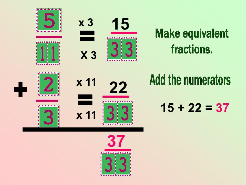 x 11 X 3 x 3 15 22 15 + 22 = 37 37