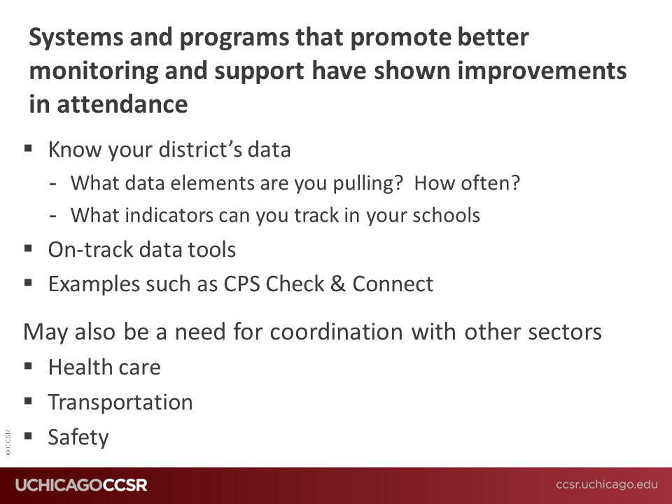 © CCSR Systems and programs that promote better monitoring and support have shown improvements in attendance  Know your district's data -What data el