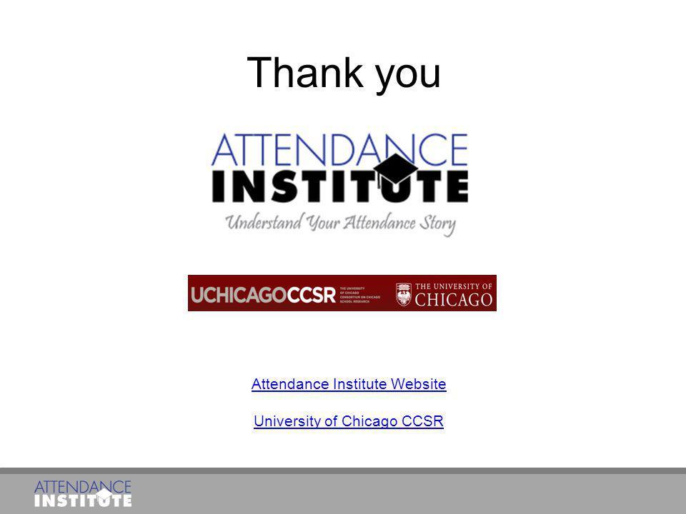 Thank you Attendance Institute Website University of Chicago CCSR