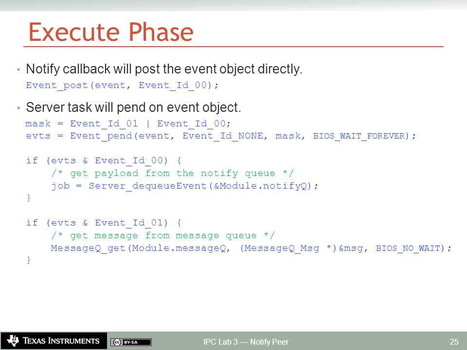 Execute Phase Notify callback will post the event object directly.