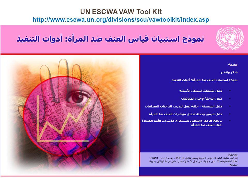 UN ESCWA VAW Tool Kit http://www.escwa.un.org/divisions/scu/vawtoolkit/index.asp