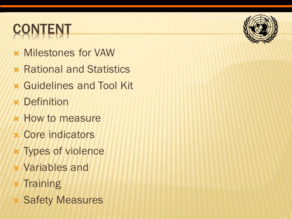  Milestones for VAW  Rational and Statistics  Guidelines and Tool Kit  Definition  How to measure  Core indicators  Types of violence  Variabl