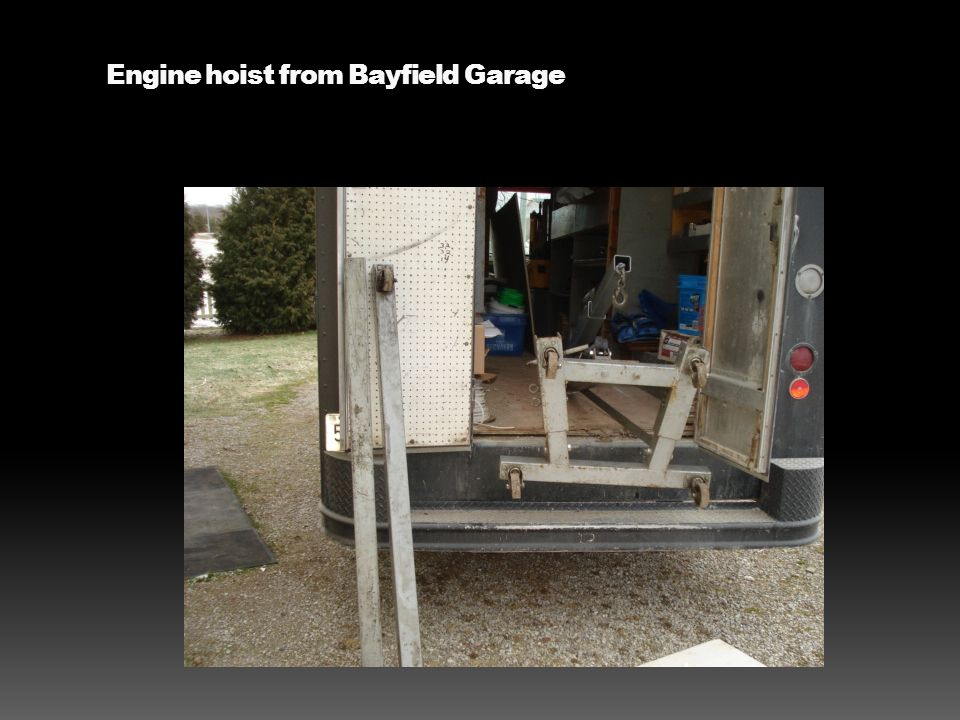Engine hoist from Bayfield Garage