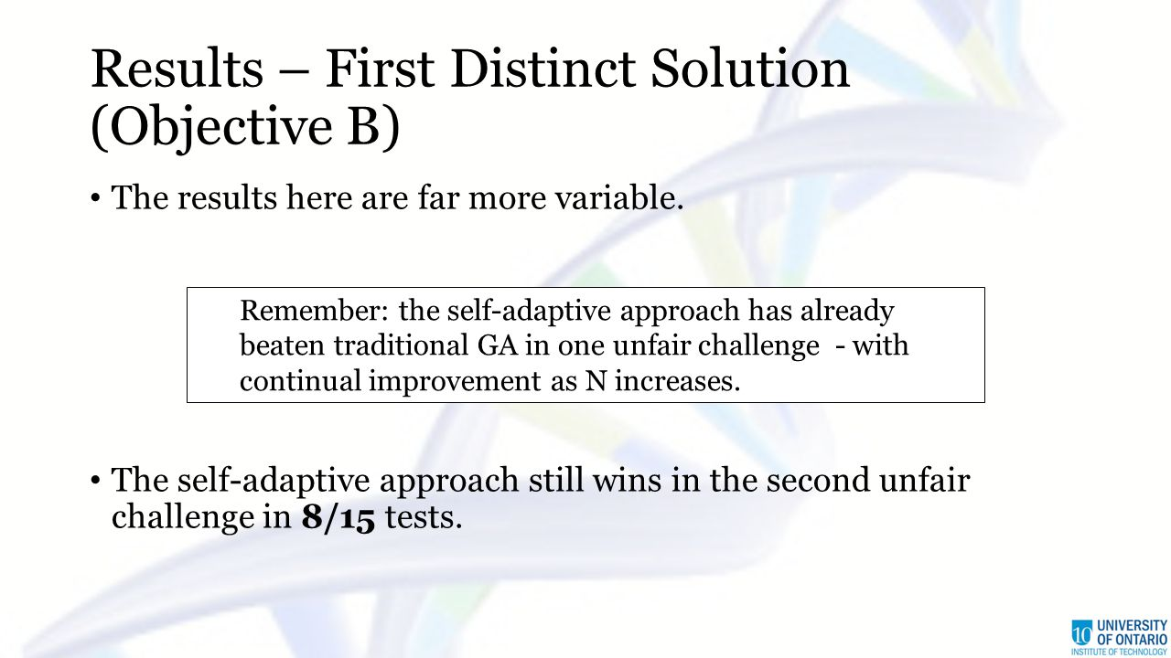 Results – First Distinct Solution (Objective B) The results here are far more variable. The self-adaptive approach still wins in the second unfair cha