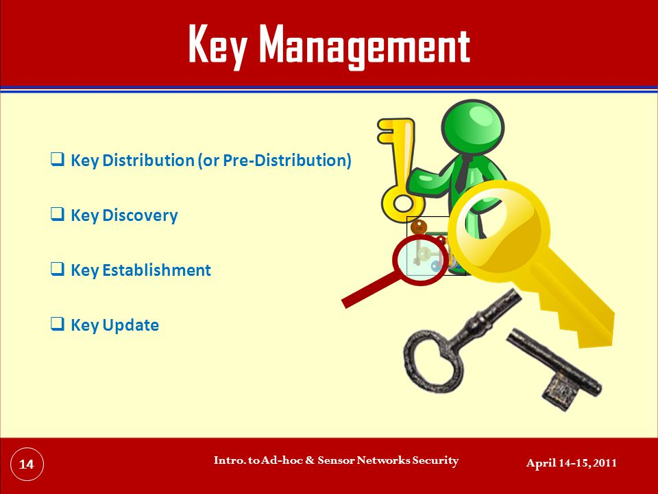 Key Management  Key Distribution (or Pre-Distribution)  Key Discovery  Key Establishment  Key Update April 14-15, 2011 Intro.