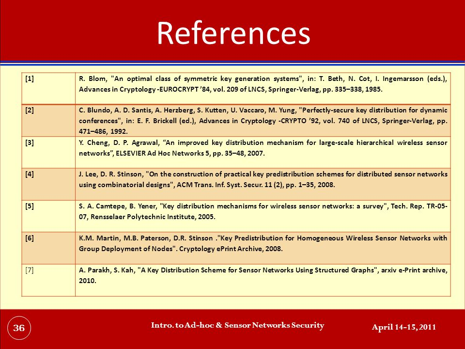 References April 14-15, 2011 Intro. to Ad-hoc & Sensor Networks Security 36 [1] R.