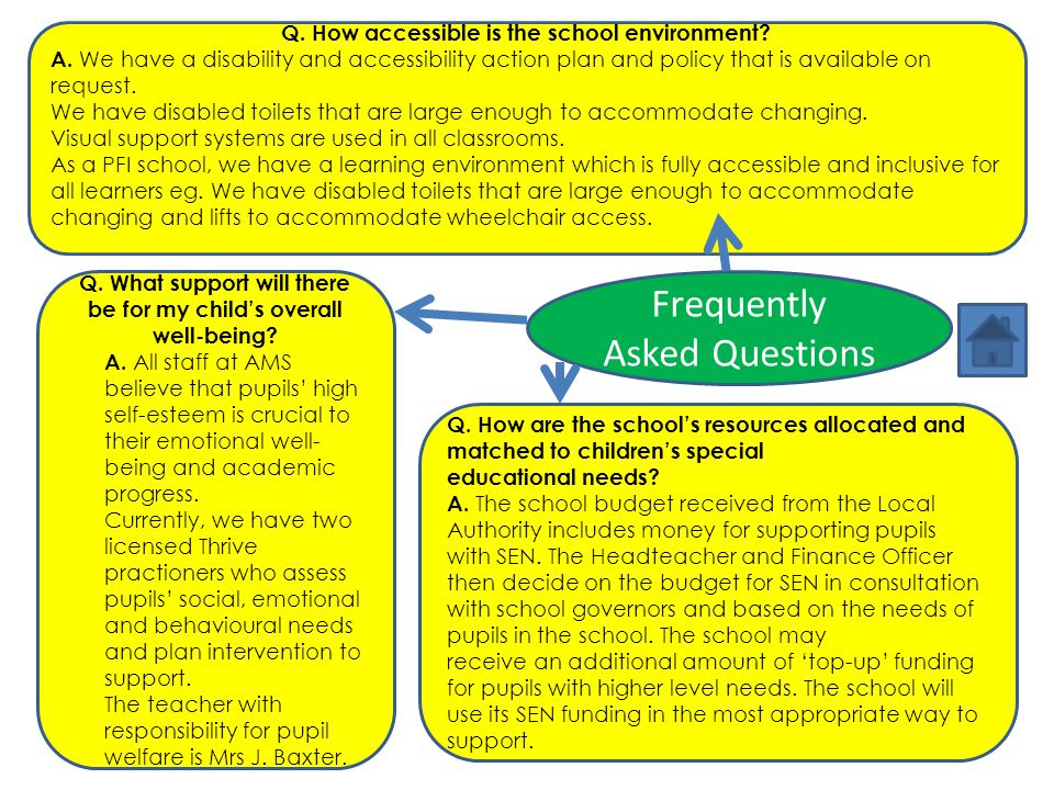 Frequently Asked Questions Q. What support will there be for my child's overall well-being? A. All staff at AMS believe that pupils' high self-esteem