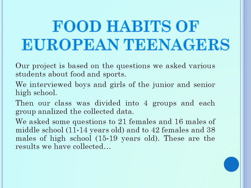 Our project is based on the questions we asked various students about food and sports.