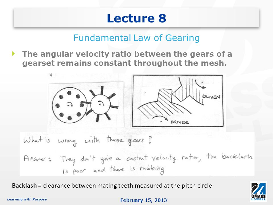 Learning with Purpose February 15, 2013 The angular velocity ratio between the gears of a gearset remains constant throughout the mesh.