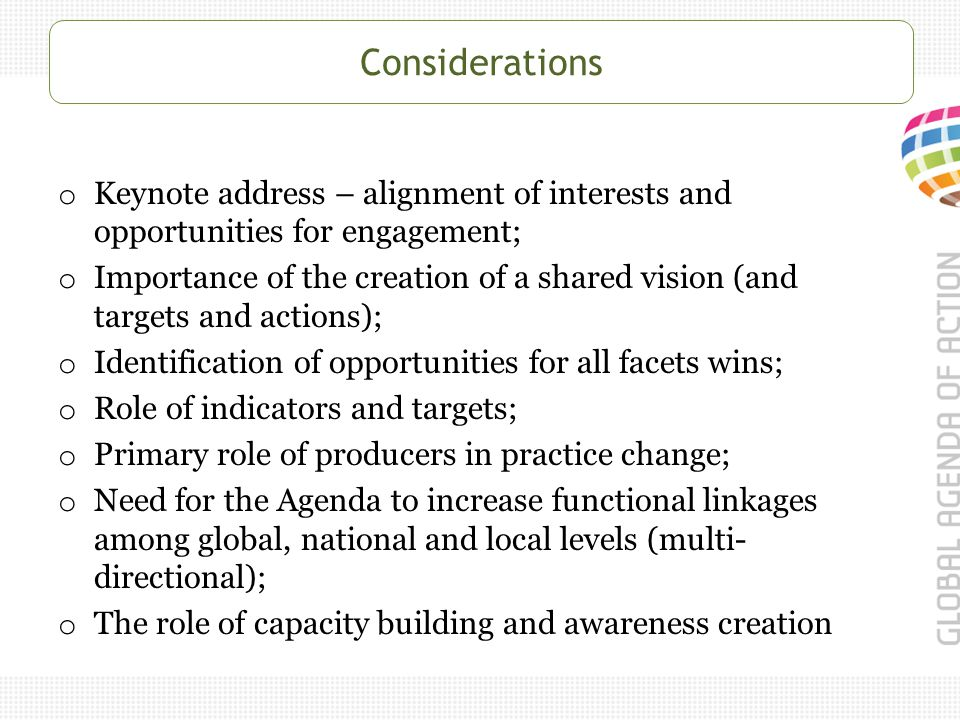 Considerations o Keynote address – alignment of interests and opportunities for engagement; o Importance of the creation of a shared vision (and targets and actions); o Identification of opportunities for all facets wins; o Role of indicators and targets; o Primary role of producers in practice change; o Need for the Agenda to increase functional linkages among global, national and local levels (multi- directional); o The role of capacity building and awareness creation