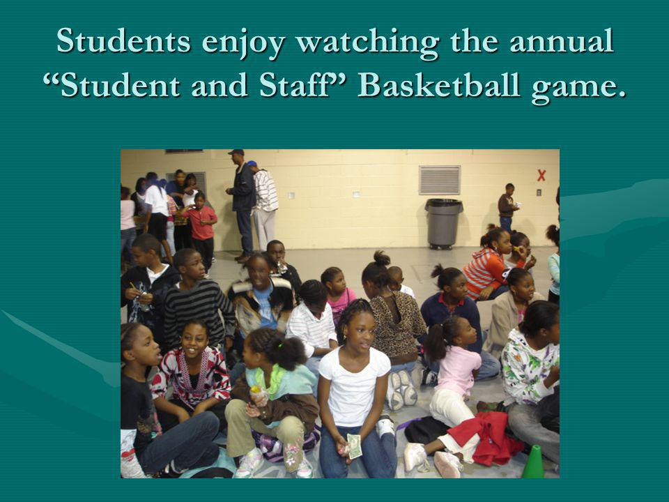 Students enjoy watching the annual Student and Staff Basketball game.