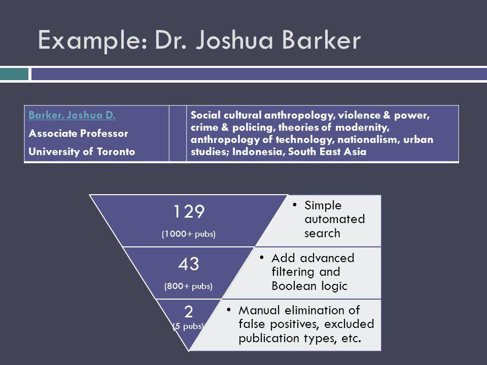 Example: Dr. Joshua Barker Barker, Joshua D.