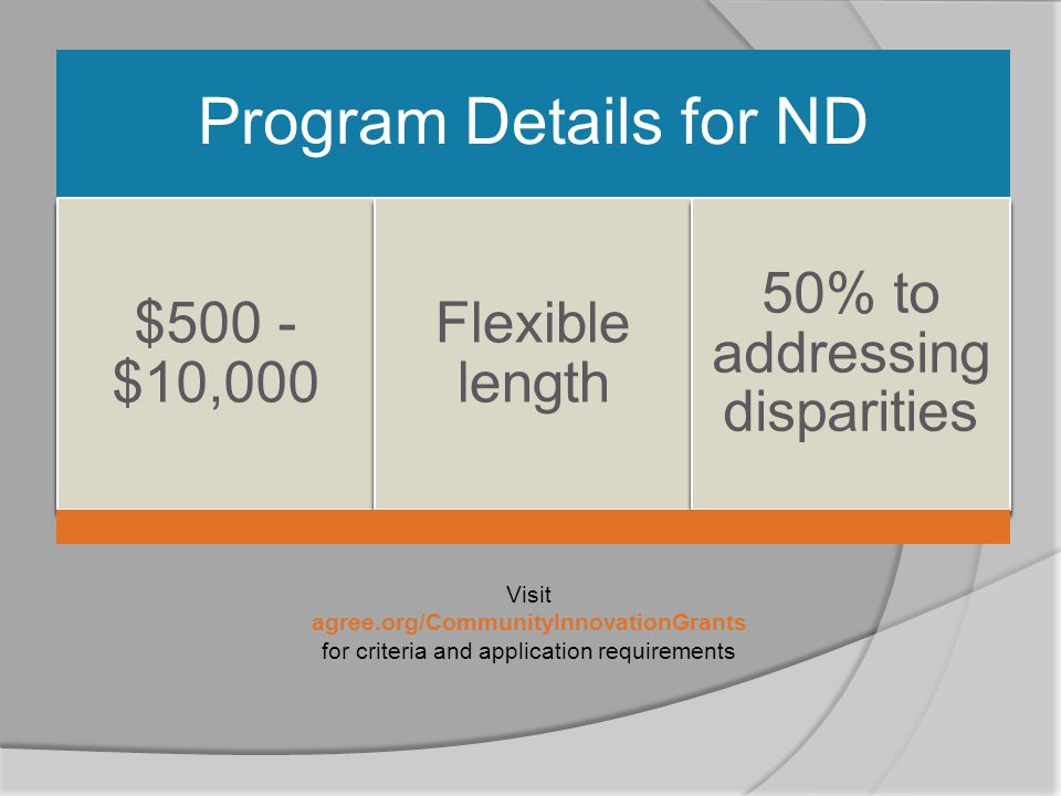 Program Details for ND $500 - $10,000 Flexible length 50% to addressing disparities Visit agree.org/CommunityInnovationGrants for criteria and application requirements