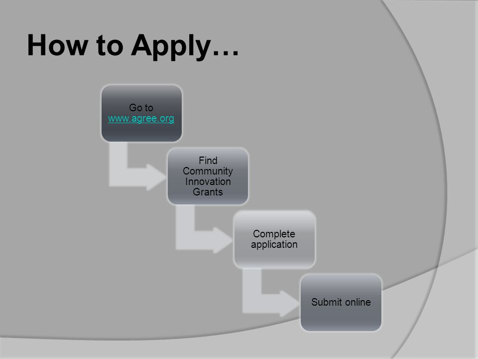 How to Apply… Go to www.agree.org www.agree.org Find Community Innovation Grants Complete application Submit online