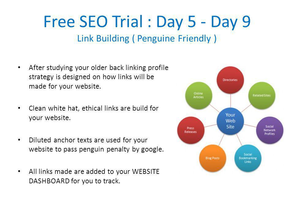 Free SEO Trial : Day 5 - Day 9 Link Building ( Penguine Friendly ) After studying your older back linking profile strategy is designed on how links will be made for your website.