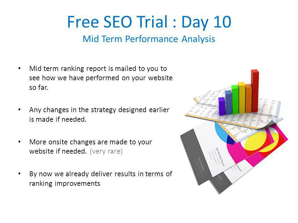 Free SEO Trial : Day 10 Mid Term Performance Analysis Mid term ranking report is mailed to you to see how we have performed on your website so far.