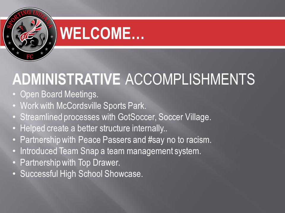 WELCOME… ADMINISTRATIVE ACCOMPLISHMENTS Open Board Meetings.