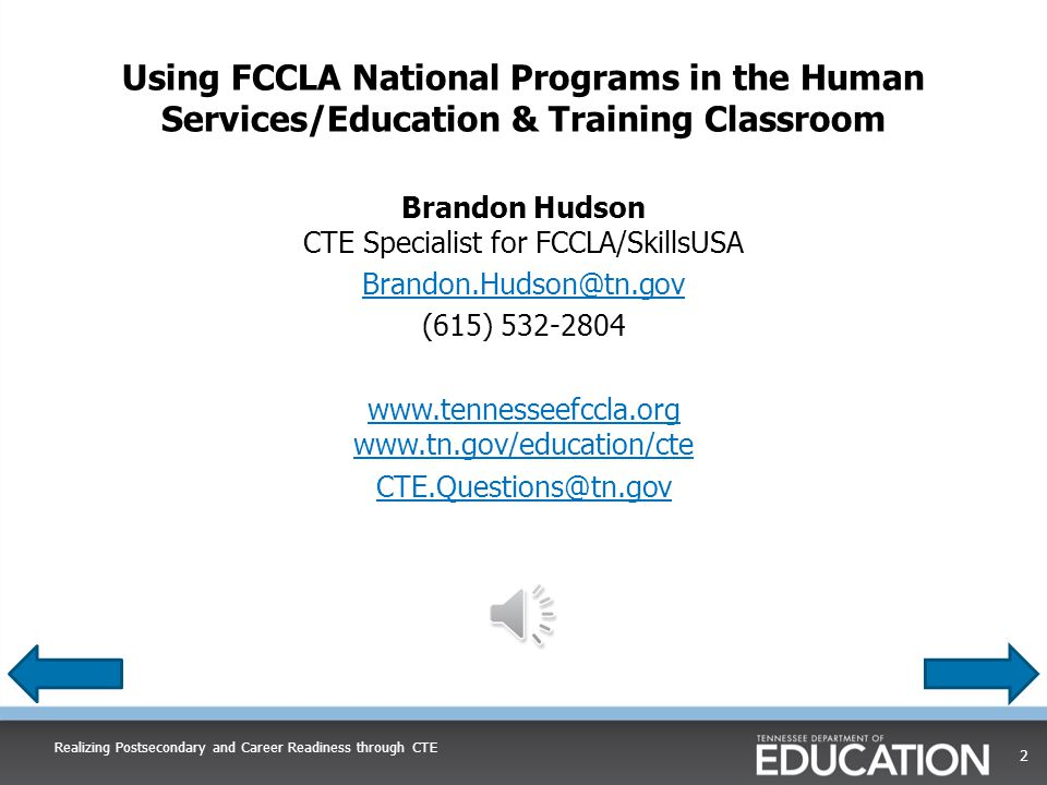 Using FCCLA National Programs in the ClassroomUsing FCCLA National Programs in the Classroom Please click the play button under the image of the speaker below to listen to the presentation.