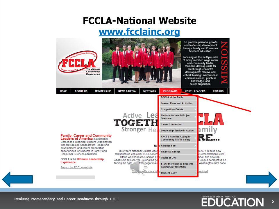 Locating and Defining FCCLA National Programs, Programs of Study, and Course Standards Realizing Postsecondary and Career Readiness through CTE 4
